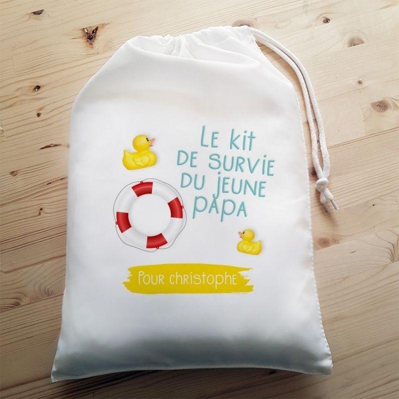 Grande pochette pour jeune ou futur papa - Kit de survie - Boîte à papa|La chouette mauve|Livraison rapide|Fabrication en France