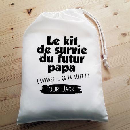 Grande pochette pour jeune ou futur papa - Kit de survie - Boîte à papa La chouette mauve Livraison rapide Fabrication en France