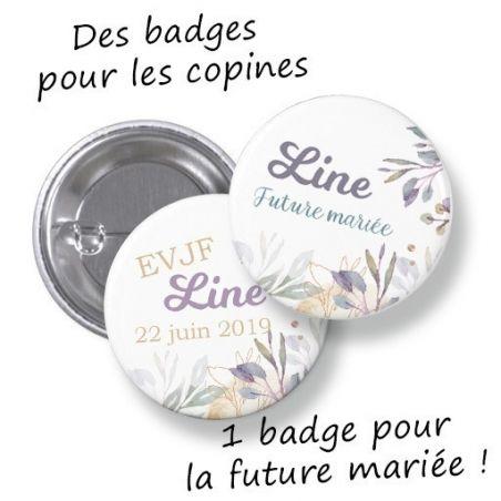 Badges EVJF rond grand format en métal - modèle Line, sweet La chouette mauve Livraison rapide Fabrication en France