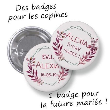 Badges EVJF rond grand format en métal - modèle Alexia|La chouette mauve|Livraison rapide|Fabrication en France