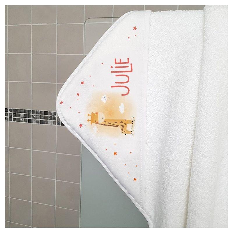 Cape de bain en éponge personnalisable, pour enfant, modèle Girafe|La chouette mauve|Livraison rapide|Fabrication en France