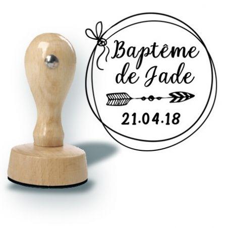 Tampon personnalisé pour baptême ou mariage - Flèche|La chouette mauve|Livraison rapide|Fabrication en France