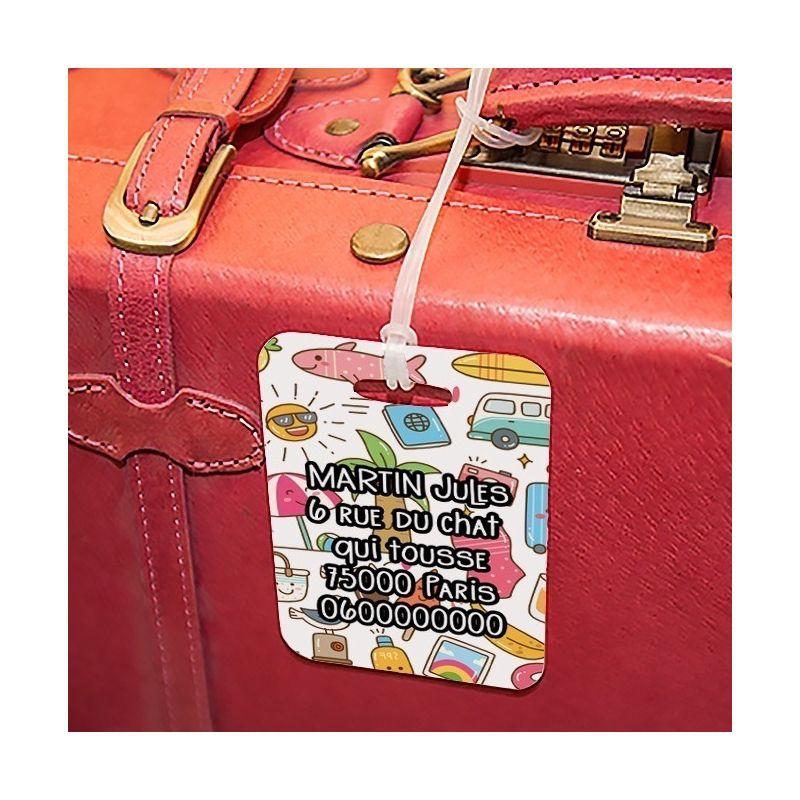 Etiquette à bagages Kawaii|La chouette mauve|Livraison rapide|Fabrication en France
