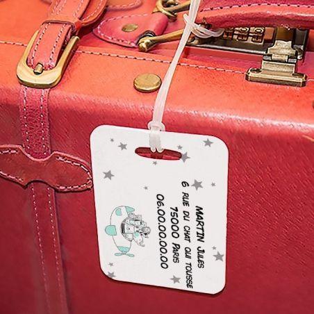 Etiquette à bagages Animaux avion|La chouette mauve|Livraison rapide|Fabrication en France