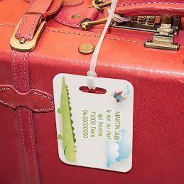 Etiquette à bagages Crocodile|La chouette mauve|Livraison rapide|Fabrication en France