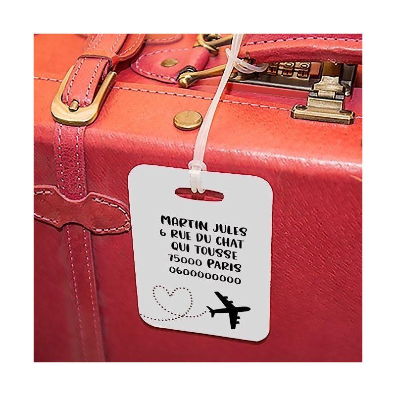 Etiquette à bagages Avion La chouette mauve Livraison rapide Fabrication en France