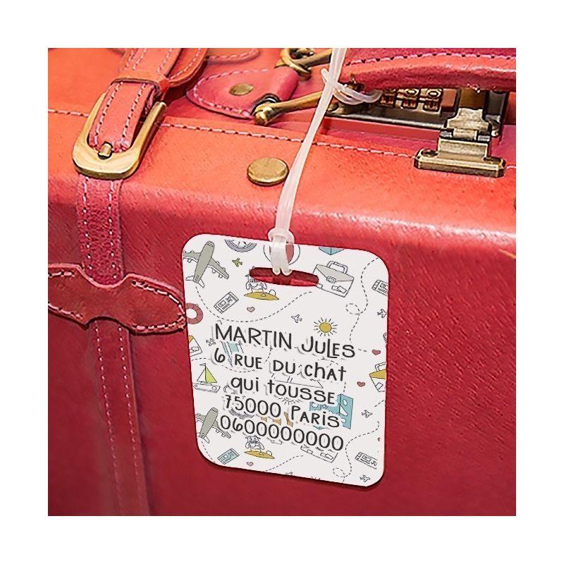 Etiquette à bagages Doodles|La chouette mauve|Livraison rapide|Fabrication en France