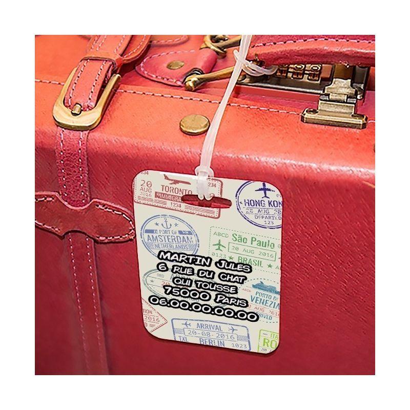 Etiquette à bagages Visa La chouette mauve Livraison rapide Fabrication en France