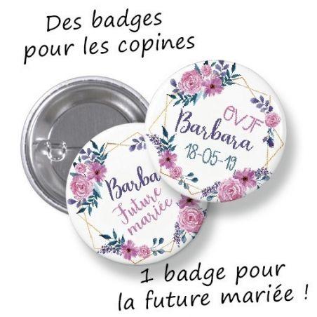 Badges EVJF rond grand format en métal - modèle Barbara|La chouette mauve|Livraison rapide|Fabrication en France