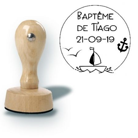Tampon personnalisé pour baptême ou mariage - Marin La chouette mauve Livraison rapide Fabrication en France