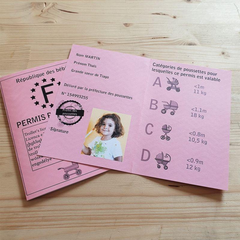 Permis Poussette personnalisé pour futur(e) grand frère/soeur/papa...|La chouette mauve|Livraison rapide|Fabrication en France