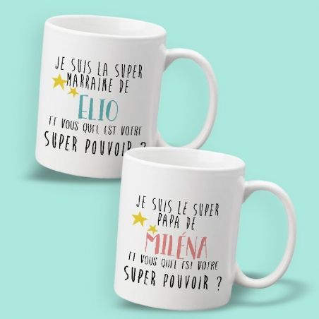 Mug personnalisable Super papa/maman/papy/mamie etc|La chouette mauve|Livraison rapide|Fabrication en France