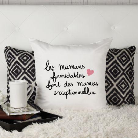 """Coussin """"Les mamans formidables font des mamies exceptionnelles"""" La chouette mauve Livraison rapide Fabrication en France"""