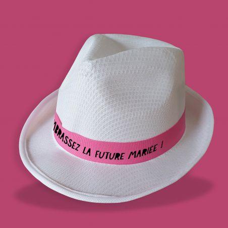 """Chapeau personnalisé EVJF blanc """"modèle Kiss"""" La chouette mauve Livraison rapide Fabrication en France"""