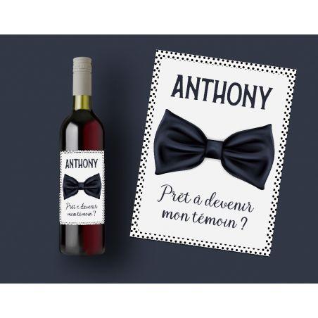 Etiquette bouteille vin Spéciale demande au témoin|La chouette mauve|Livraison rapide|Fabrication en France