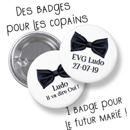 Badges EVG rond grand format en métal - modèle Noeud papillon|La chouette mauve|Livraison rapide|Fabrication en France
