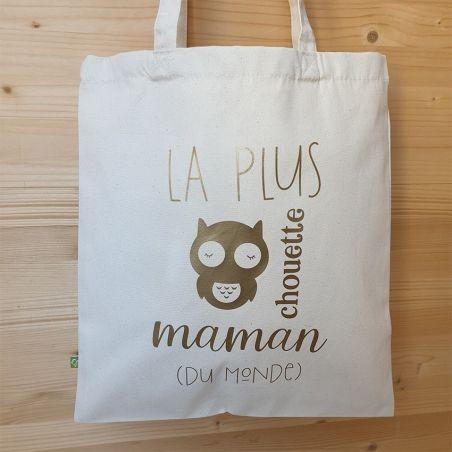 Tote bag La plus chouette maman|La chouette mauve|Livraison rapide|Fabrication en France