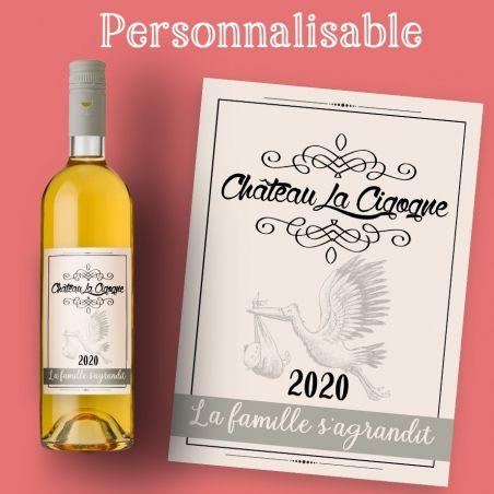 Etiquette Bouteille Vin Ou Champagne Pour Une Annonce De Grossesse