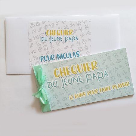 Chéquier du jeune papa -  Cadeau original - Boîte à papa La chouette mauve Livraison rapide Fabrication en France