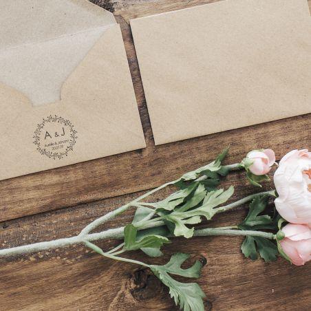 Tampon personnalisé pour mariage - Initiales|La chouette mauve|Livraison rapide|Fabrication en France