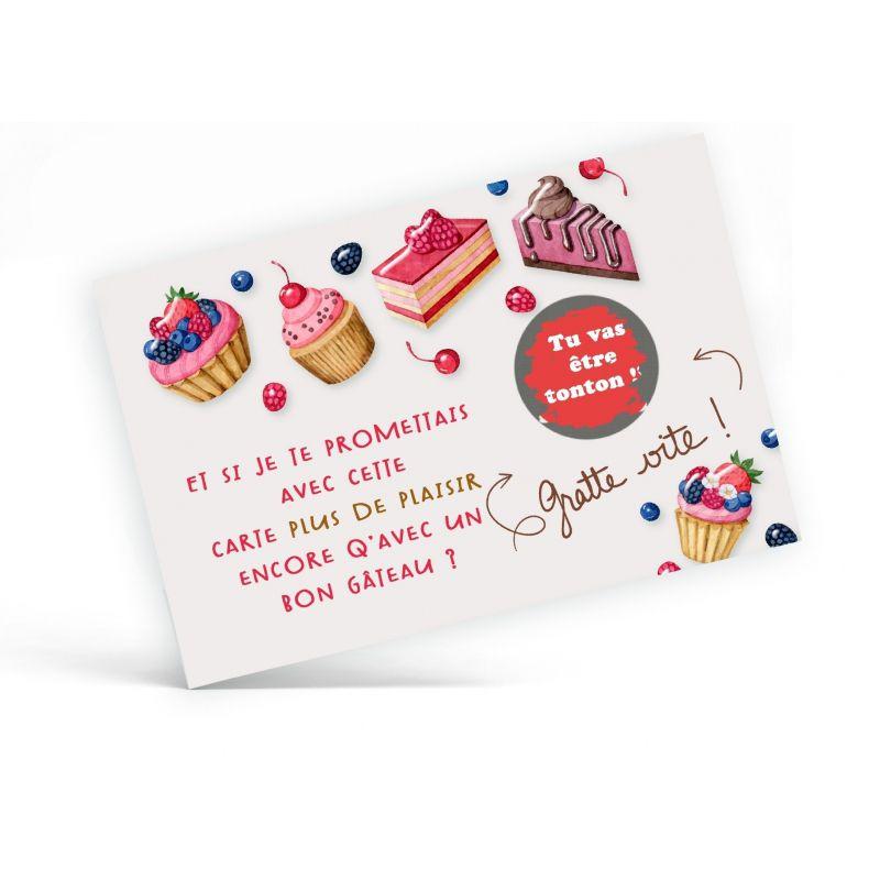 Carte à gratter personnalisable , gâteaux|La chouette mauve|Livraison rapide|Fabrication en France