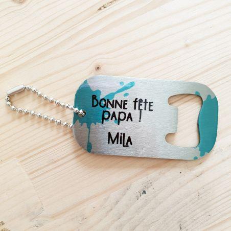 Porte clés décapsuleur en Inox personnalisable|La chouette mauve|Livraison rapide|Fabrication en France