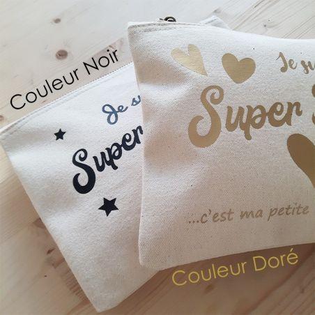 Pochette coton personnalisable pour Super Nounou La chouette mauve Livraison rapide Fabrication en France