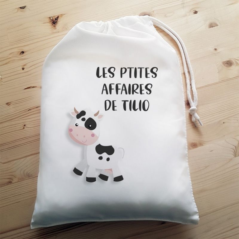 Pochon personnalisable Vache|La chouette mauve|Livraison rapide|Fabrication en France