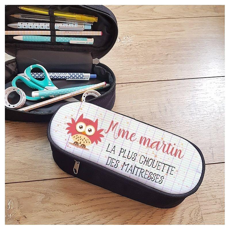 Trousse à crayons personnalisable, modèle Chouette maîtresse La chouette mauve Livraison rapide Fabrication en France