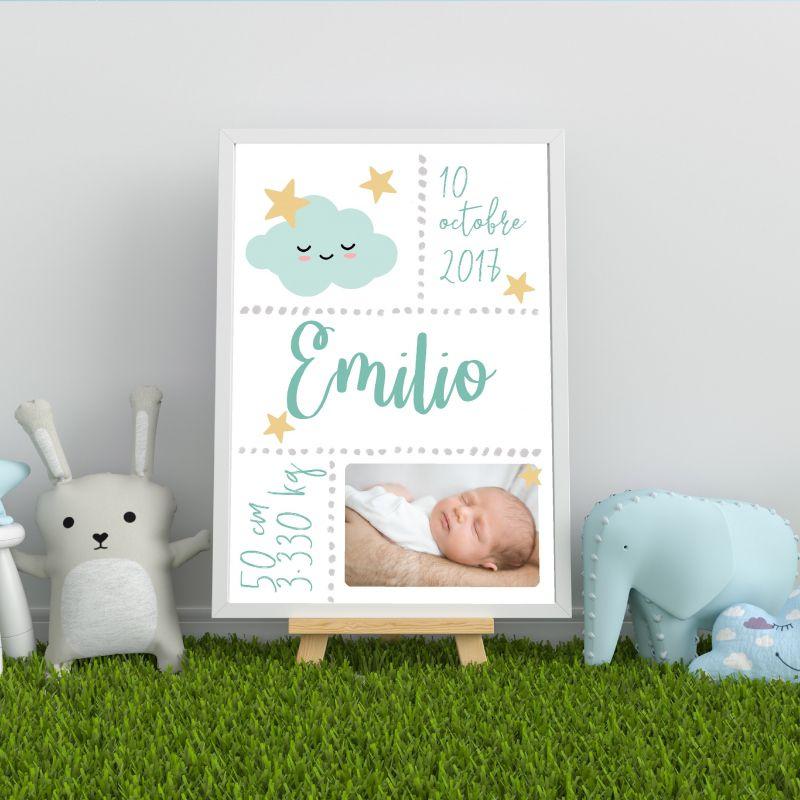 Affiche de naissance personnalisée à encadrer bleue|La chouette mauve|Livraison rapide|Fabrication en France