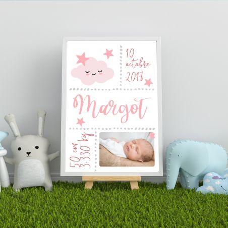 Affiche de naissance personnalisée à encadrer rose|La chouette mauve|Livraison rapide|Fabrication en France
