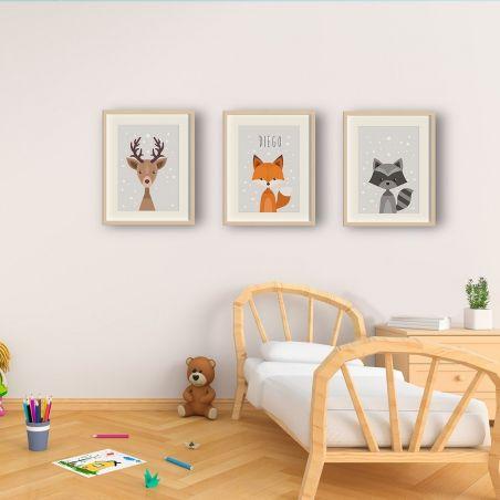 3 Affiches à encadrer pour chambre d'enfant - Renard - cerf - blaireau|La chouette mauve|Livraison rapide|Fabrication en France