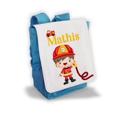 Sac à dos personnalisé pour enfant modèle Pompier La chouette mauve Livraison rapide Fabrication en France
