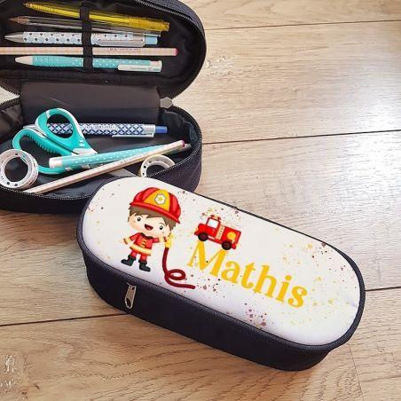 Trousse à crayons personnalisable, modèle Pompier|La chouette mauve|Livraison rapide|Fabrication en France