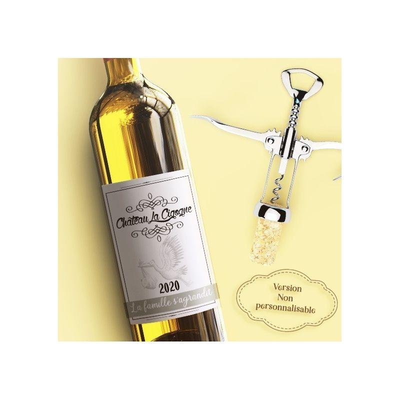 Etiquette bouteille de vin personnalisable pour annonce originale La chouette mauve Livraison rapide Fabrication en France