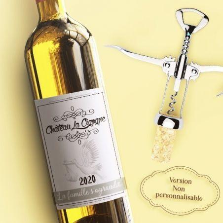 """Etiquette bouteille vin  """"La famille s'agrandit !"""" La chouette mauve Livraison rapide Fabrication en France"""