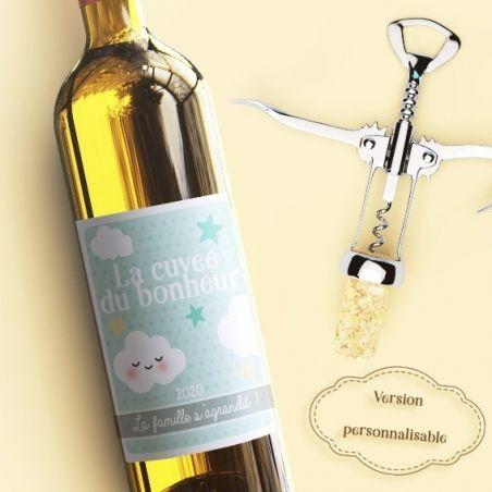 Etiquette bouteille vin personnalisable pour annonce de grossesse|La chouette mauve|Livraison rapide|Fabrication en France