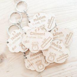 Porte clé personnalisable en bois Naissance Nuage|La chouette mauve|Livraison rapide|Fabrication en France