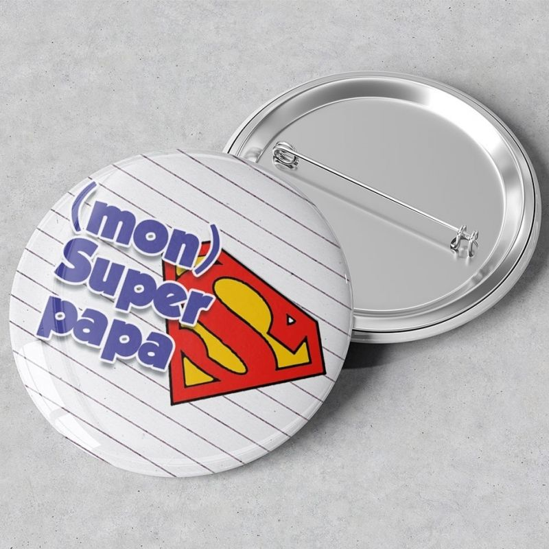 Badge  rond Mon super Papa - grand format en métal - 44 mm -|La chouette mauve|Livraison rapide|Fabrication en France