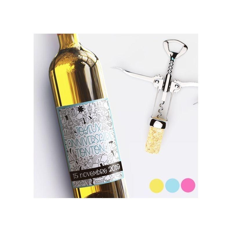 Etiquette bouteille de vin personnalisable pour anniversaire ! La chouette mauve Livraison rapide Fabrication en France