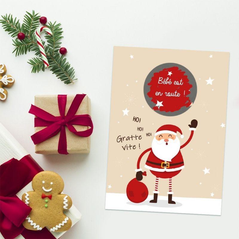 Mini carte à gratter Noël pour une annonce de grossesse|La chouette mauve|Livraison rapide|Fabrication en France