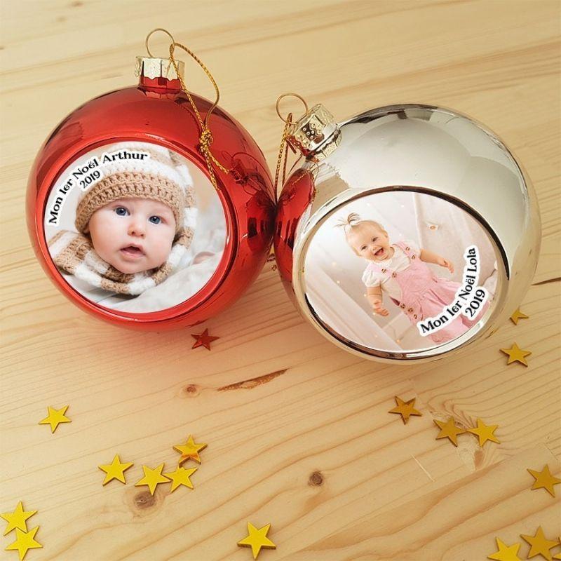Boule de Noël personnalisée avec photo à accrocher au sapin