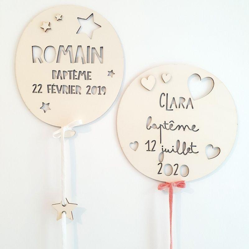 Ballon de baptême en bois personnalisé|La chouette mauve|Livraison rapide|Fabrication en France