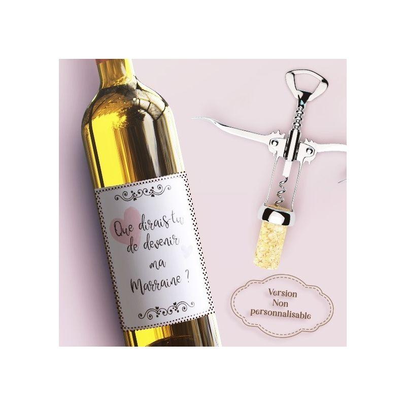 Etiquette bouteille vin  Demande à la marraine La chouette mauve Livraison rapide Fabrication en France