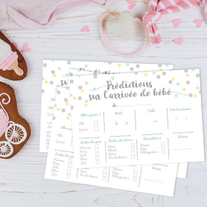 """Carton de jeu """"Prédictions sur la naissance"""" - Baby shower La chouette mauve Livraison rapide Fabrication en France"""