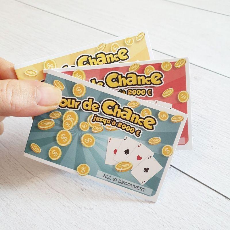 Mini ticket jeu à gratter inscriptible Jour de chance|La chouette mauve|Livraison rapide|Fabrication en France