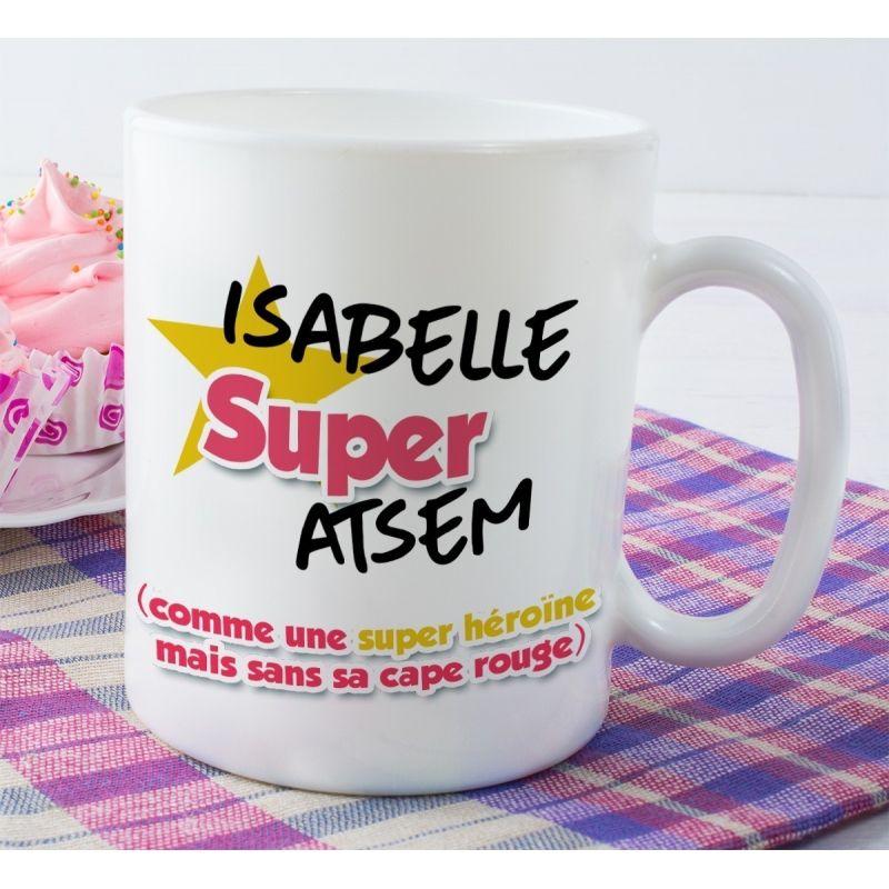 Mug personnalisable recto  Super ATSEM|La chouette mauve|Livraison rapide|Fabrication en France