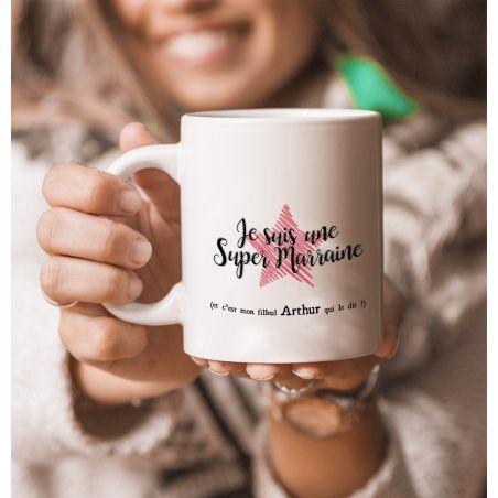 Mug personnalisable recto pour Super marraine ! Cadeau original|La chouette mauve|Livraison rapide|Fabrication en France