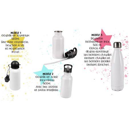 Gourde ou bouteille personnalisée pour enfant modèle Dauphins La chouette mauve Livraison rapide Fabrication en France