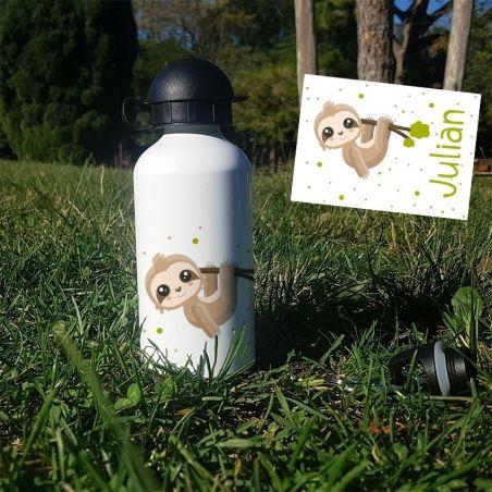 Gourde ou bouteille personnalisée pour enfant  Paresseux La chouette mauve Livraison rapide Fabrication en France